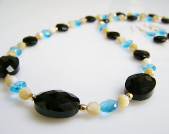 Black Onyx Necklace and Earrings - Black Onyx with Swiss Blue Quartz, Mother-of-Pearl, and 14K Gold Fill, Black Gemstone Necklace Set