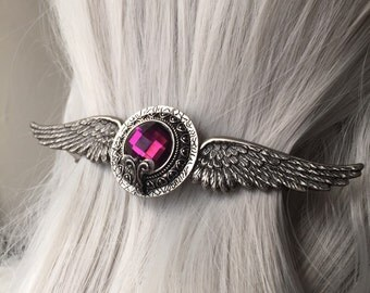 Hair Barrette for Thick Hair Angel Wings Silver Hair Clip or Wing Hair Clip - Hair Clip Women or Thick Hair Clip - Angel Wings Jewelry