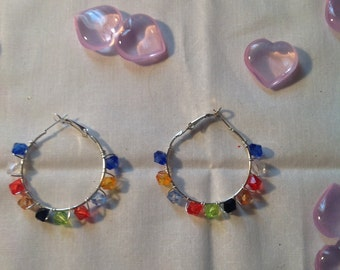 multicolored crystal hoops