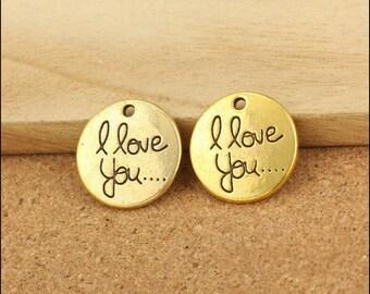 50Pcs 20mm Antique Gold Letters Charm Pendants I Love You Charm Pendants LJ20066