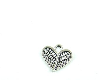 Angel Wing Pewter Heart Charm