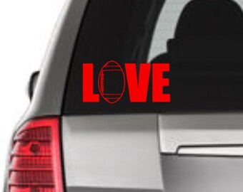 Love Football Window Decal, Football Window Decal, Love Football Car Decal, Football Car Decal, Football Vinyl Decal, Football Vinyl, Laptop