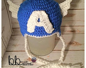 Captain America Inspired Beanie - Crochet - all sizes - made to order