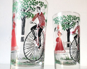 ON SALE! Vintage Libbey Glasses - Men On High Wheel Bicycle - Red, Black & Green Design - Set Of Two