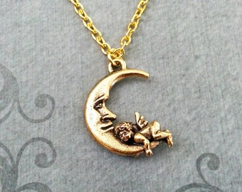 Man in the Moon Necklace Moon Jewelry Gold Moon Charm Necklace Moon Pendant Necklace Cherub Necklace Baby Angel Necklace Angel Jewelry