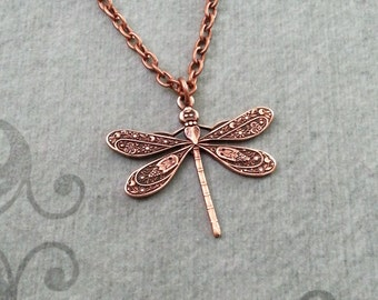 Dragonfly Necklace SMALL Copper Dragonfly Jewelry Dragonfly Charm Necklace Dragonfly Pendant Insect Necklace Bug Jewelry Bridesmaid Necklace
