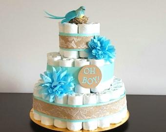 Diaper Cake/ Baby Boy Diaper Cake Turquoise and Aqua Diaper Cake/ Baby Shower Gift/ Vintage Bird Center Piece/ Baby Shower Centerpiece