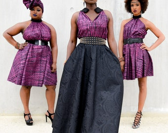 Awa Maxi dress- Black and fushia