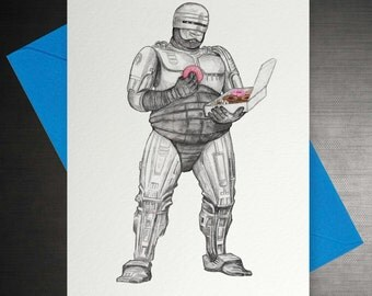 Fat Robocop Doughnut Card