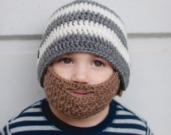 Crochet Striped Beard Hat with detachable beard - Baby beard hat - Lumberjack hat - Baby boy hat - Hat with Beard - Beard beanie