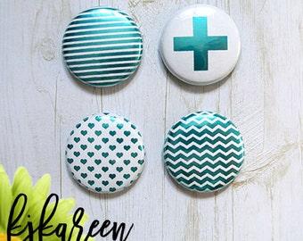 "Badge 1 ""- turquoise metallic Texture"