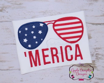 4th of July Merica Aviator Sunglasses Applique Machine Embroidery Design, Summer, Girl, Boy, Fireworks, America, 4x4, 5x7 small, 5x7, 6x10