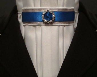 Equestrian Pzazz Euro-style Stock Tie with Royal Blue and Silver