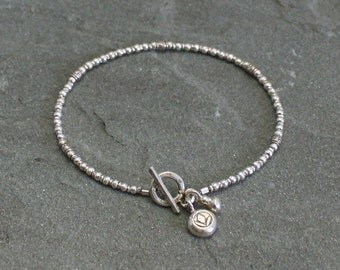 Thai Fine Silver Beaded Bracelet with Toggle Clasp and Charms, Rustic Beaded Silver Bracelet, Silver Bead Bracelet, Rustic Hill Tribe Silver