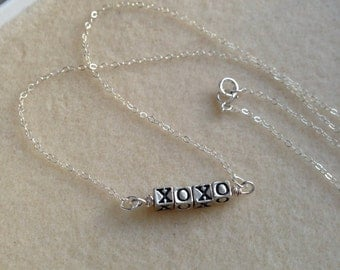 XOXO necklace,Sterling silver necklace,hugs and kisses necklace,Valentine gift,Mothers day gift,Birthday gift,Anniversary gift,gift for her
