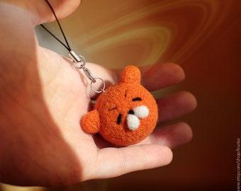 Cute handmade anime Umaru-chan hamster kawaii wool felted phone charm strap