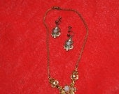 "Necklace with OPAL-Like settngs along with green and clear.Vintage 6 1/2"" Stricking Gold-tone"
