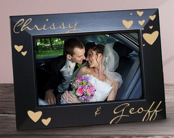 Just The Two Of Us Engraved Black Frame, Couples Engraved Black Frame - Personalized