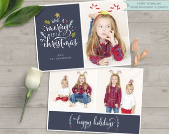 christmas card photo, christmas photo card, christmas photo template, have a merry little christmas template, photo template photographers