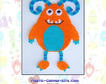 Orange Monster Wall Hanging-Plastic Canvas Pattern-PDF Download