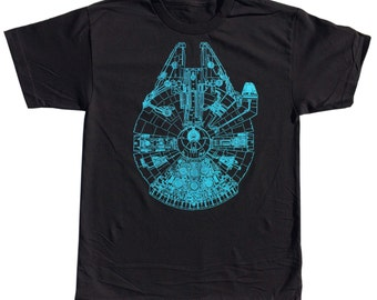 NEW Star Wars Millennium Falcon T-shirt Blueprint S-M-L-XL