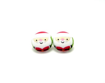 Santa Clause button earrings - Santa earrings - Christmas earrings - hypoallergenic earrings - gifts for her - Christmas jewelry