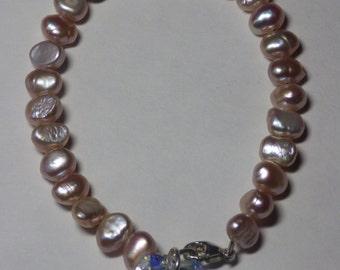 Swarovski crystal and fresh water pearls bracelet Free Shipping to USA