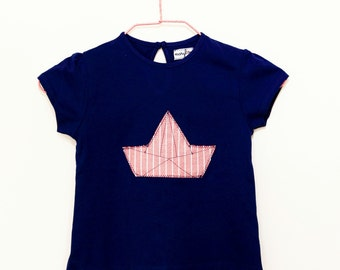 "T-shirt navy blue ""barchetta"" origami application girls (24 month)"