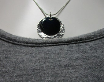 C-140 necklace with charm in Silver 925 with plate enamel on copper black free shipping / Free Shipping