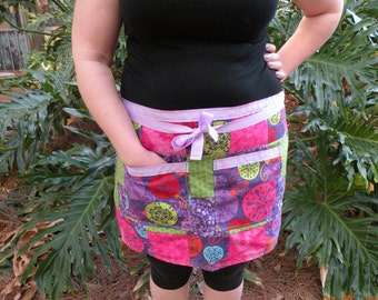 Christmas - Winter - Handmade - Patchwork - Half Apron (Purple, Green, Pink)