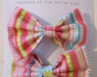 Set of 2 Fabric Hair Bow Clips, Jazzy Stripes