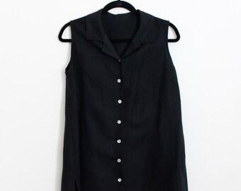 Vintage 1990s Black Vest / Button Up / Over-sized / 90s Clothing