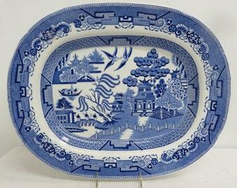 19th C English Transferware Platter, Blue Willow