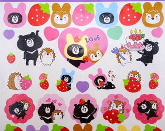 Asian black bear & cute hedgehog stickers - kawaii strawberry stickers - kawaii animal stickers - black bear stickers - Emoticon stickers #5
