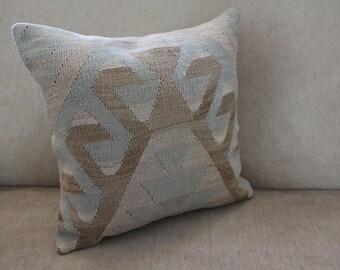 Turkish Kilim Pillow - Traditional Pillow - Anatolian Kilim Pillow - Decorative Pillow - Organic Wool- Local Craft - Beige-Blue-Brown-0440