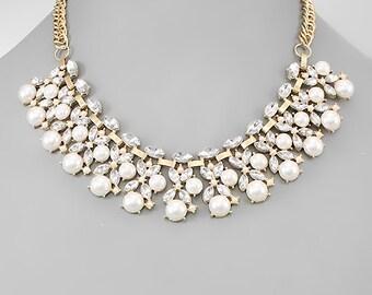 Pearl & Crystal Statement Bib Necklace