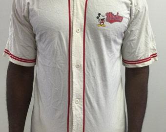 Vintage Mickey Mouse Walt Disney World Baseball Jersey XL