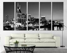 Nashville City Skyline Art Canvas Print, Tennessee Downtown Skyline at Twilight USA Wall Art Canvas
