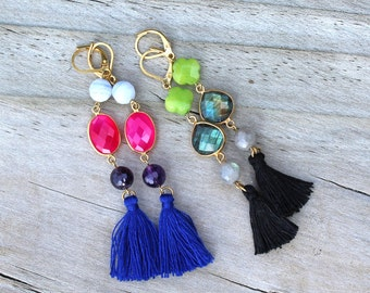 Earrings gold and gemstones (2 colours) Pemberley jewelry / earrings gold / jewelry gold / Bohemian jewelry / Bohemia