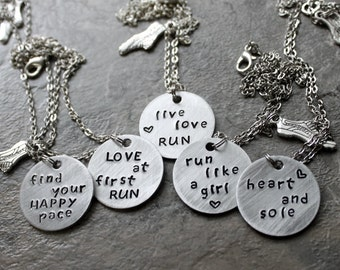 Running Necklace, Find Your Happy Pace, Heart and Sole, Love at First Run, Jewelry for Runners Sprinters, Cross Country 5k 10k Race Marathon