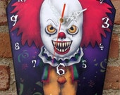 Wooden wall coffin-clock - creepy clown Pennywise, IT movie. Handmade wall clock. Coffin shaped. Gothic decoration. Horror film clock.