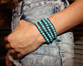 Turquoise Wrap Bracelet; Leather Wrap Bracelet, 5 wrap Leather Bracelet, Beaded Wrap Bracelet, Wrap leather bracelet
