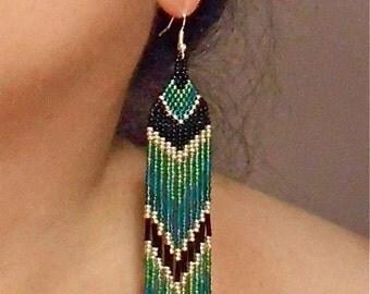 Seed Bead Earrings, Native American Inspired Design, Waterfall Earrings, Handmade Teal Blue and Green, Ocean Blue Seed Beaded Earrings