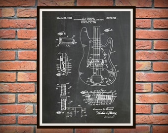 Patent 1961 Fender Bass Guitar Designed by Clarence Fender - Rock Band Instrument - Music Room Art - Orchestra Art - Electric Guitar Patent