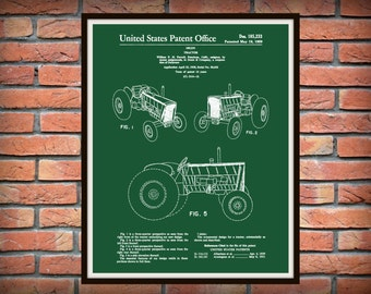 Patent 1959 John Deere Tractor Designed by William Purcell - Art Print or Poster - Wall Art - Agriculture Art - Farming