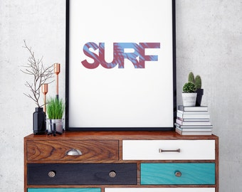 Surf Poster - Wall Art Home Decor - Digital Download