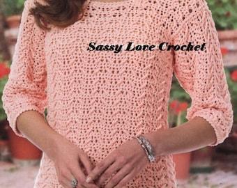 Crochet Georgia Peach Sweater Pattern, Crochet Womens Sweater Pattern -Instant Download