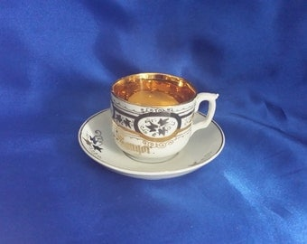 Victorian Bone China Cup & Saucer in White and Gilding, A Present from Bangor, North Wales