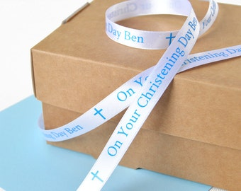 Christening 10mm Personalised Printed Ribbon - Christening Gift Wrap - Baptism Gift - Personalized Ribbon - Naming Ceremony Present