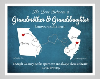 Mother's Day Gift for Grandmother, Long Distance Grandmother- Grandaughter Map,  Personalized Map for Grandma and Grandaughter,  Grandmother